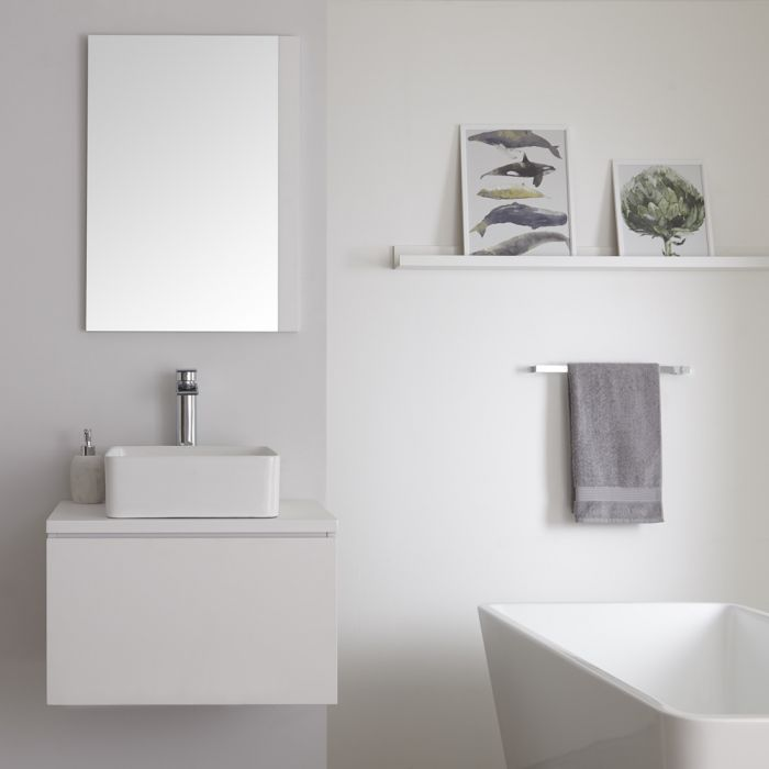 Milano Oxley - Matt White Modern Wall Hung Vanity Unit with Square Countertop Basin - 505mm x 600mm