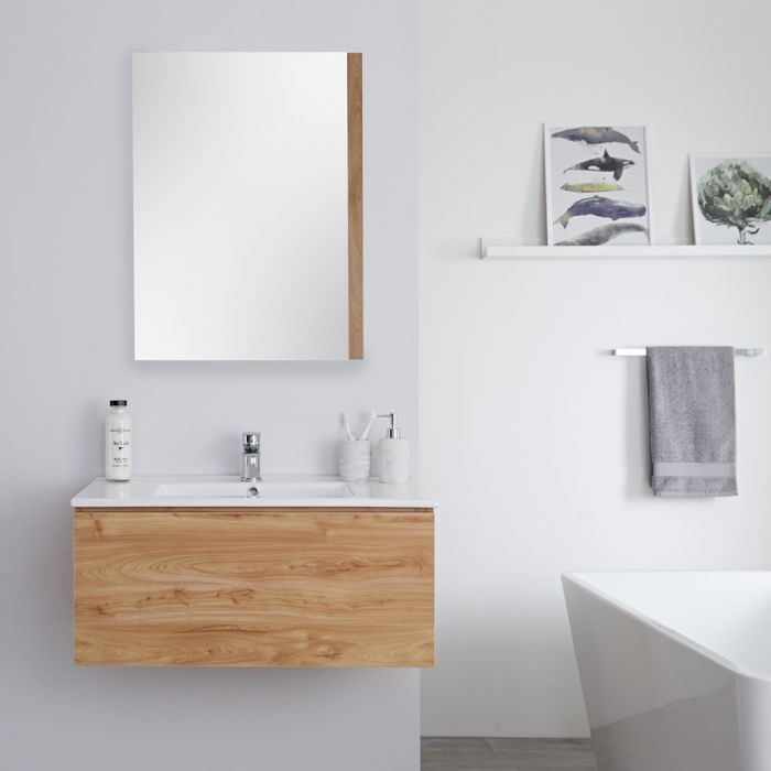 Milano Oxley - Golden Oak Modern Wall Hung Vanity Unit with Basin - 368mm x 810mm