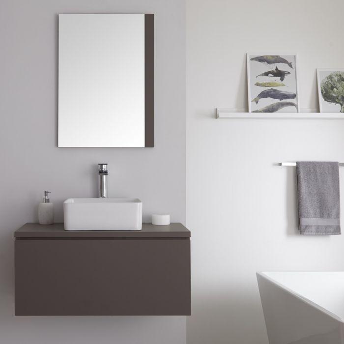 Milano Oxley - Matt Grey Modern Wall Hung Vanity Unit with Countertop Basin - 520mm x 800mm