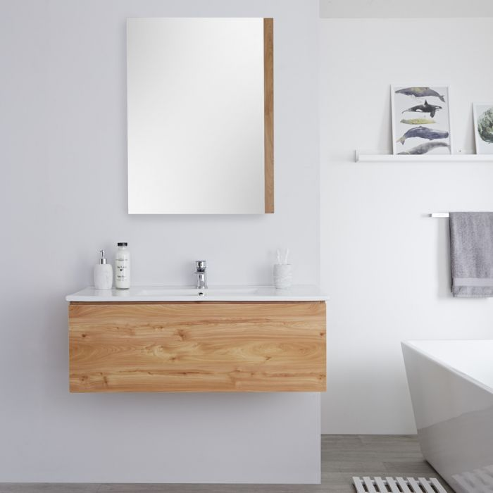 Milano Oxley - Golden Oak Modern Wall Hung Vanity Unit with Basin - 368mm x 1010mm