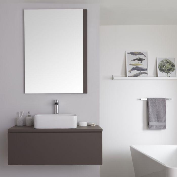 Milano Oxley - Matt Grey Modern Wall Hung Vanity Unit with Countertop Basin - 520mm x 1000mm