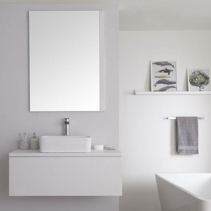 Milano Oxley - Matt White Modern Wall Hung Vanity Unit with Countertop Basin - 520mm x 1000mm