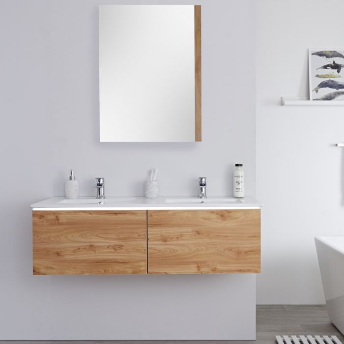 Milano Oxley - Golden Oak Modern Wall Hung Vanity Unit with Double Basins - 368mm x 1210mm