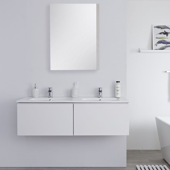 Milano Oxley - White 1200mm Wall Hung Vanity Unit with Double Basins