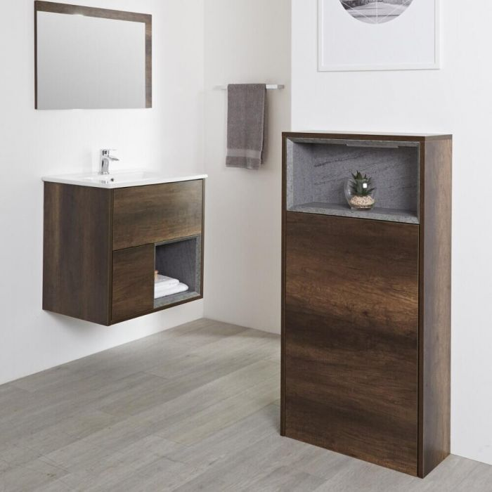Milano Bexley - 1150mm Modern Open Storage Unit - Dark Oak
