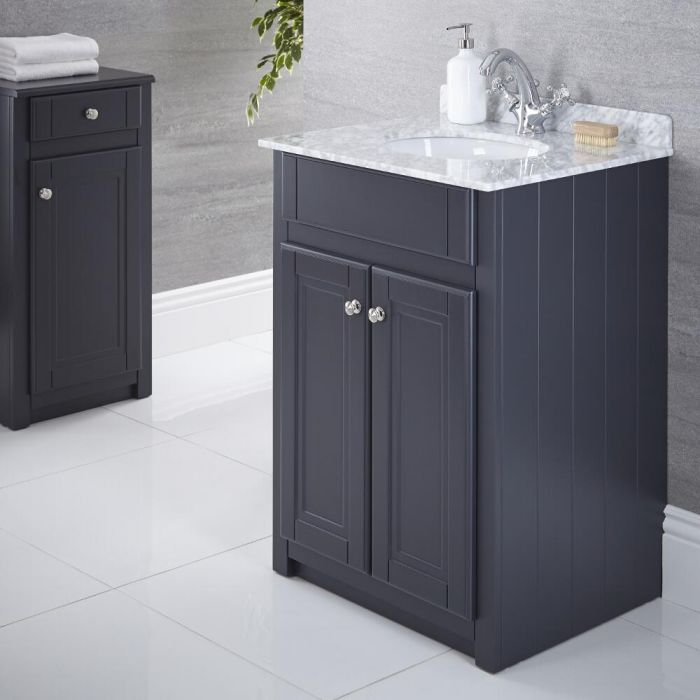 Milano Edgworth - Anthracite and White Traditional 600mm Vanity Unit and Basin
