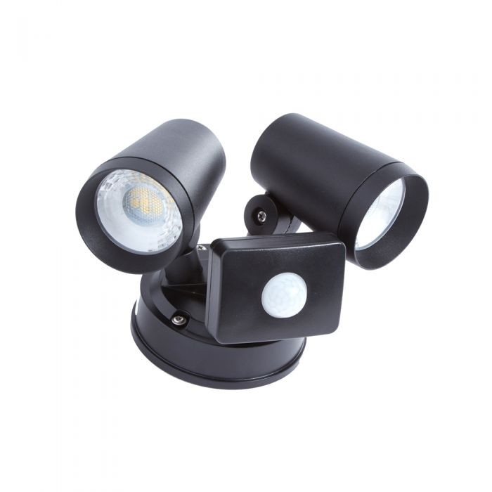 Biard Wels IP65 16W LED Twin Outdoor Spotlight with PIR