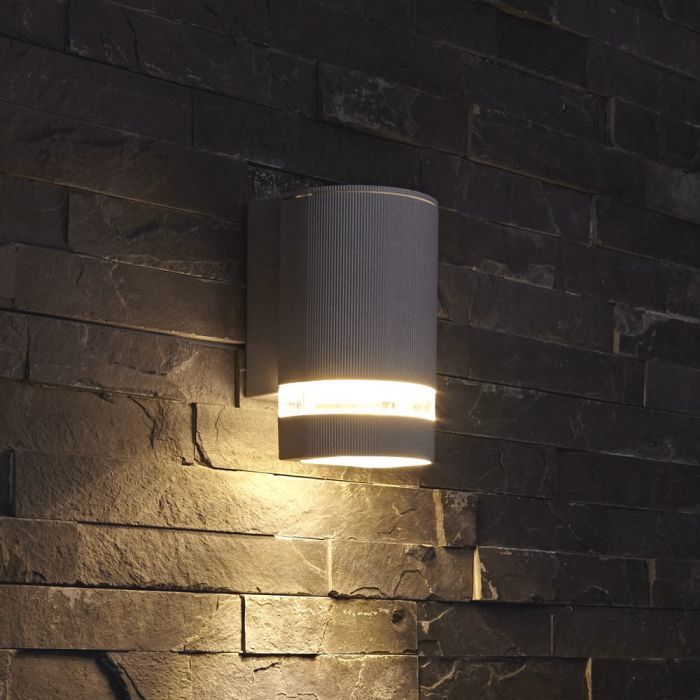 Biard Architect IP54 Round Up or Down Outdoor Wall Light - Black