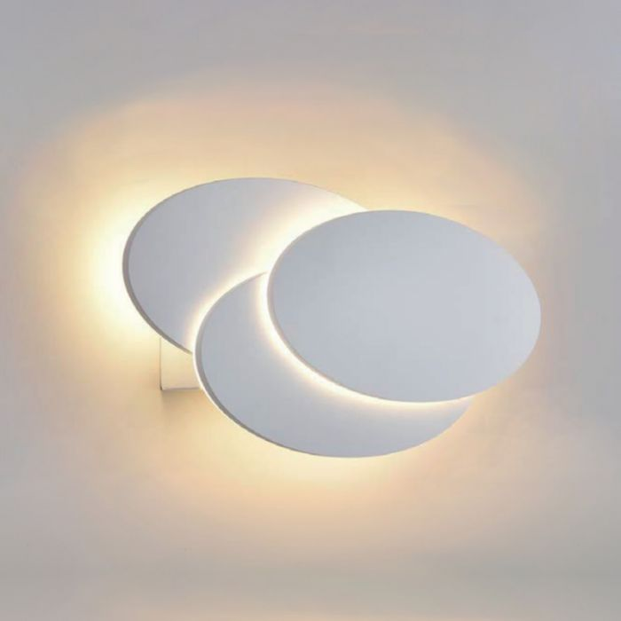 Biard Piran Round Backlit LED Indoor Wall Light - White
