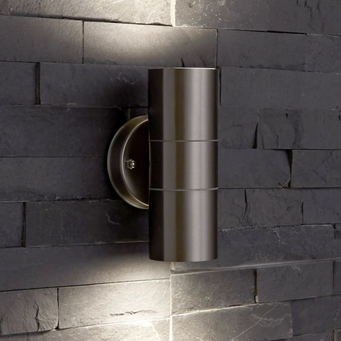 Biard Le Mans Up/Down Outdoor Wall Light - Brushed Steel