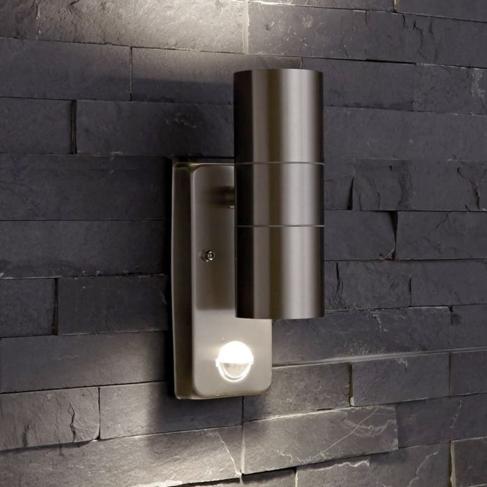 Biard Le Mans Up/Down Outdoor Wall Light with PIR - Brushed Steel