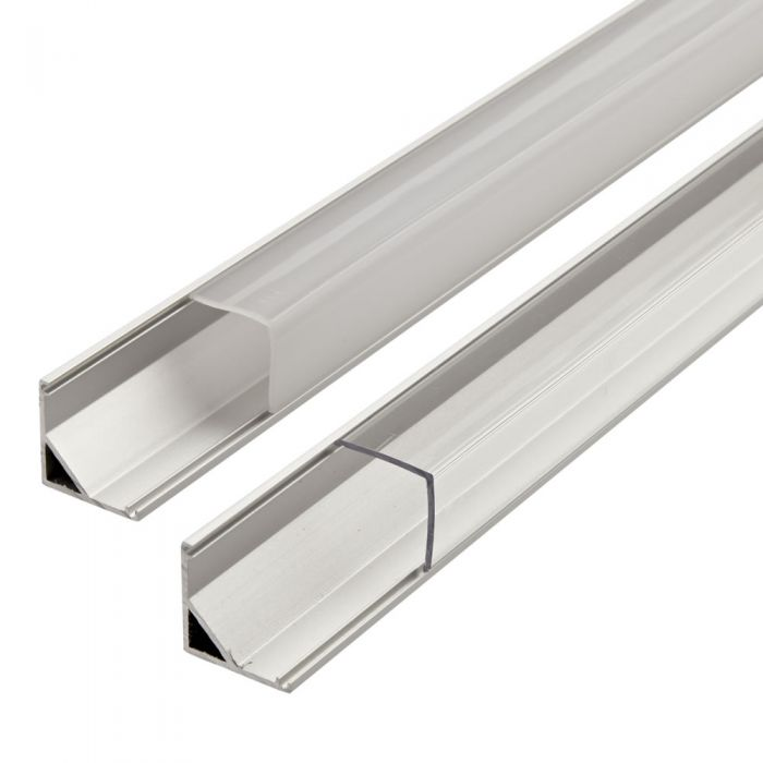 Biard V Shaped Aluminium Profile with V Shaped Transparent or Opal Matt Cover and End Cap Set