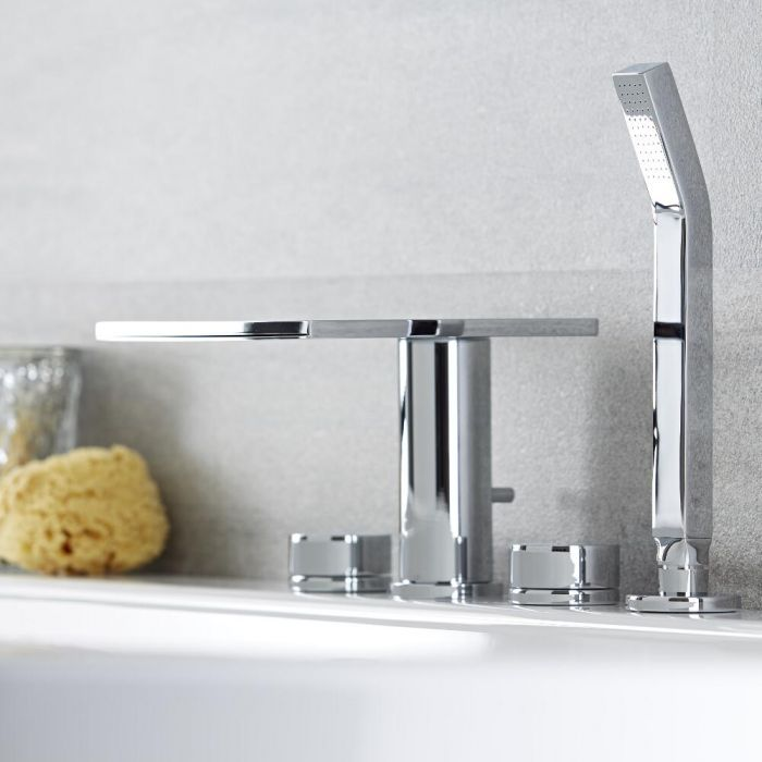Milano Blade - Modern Deck Mounted Bath Shower Mixer Tap with Hand Shower and Hose - Chrome