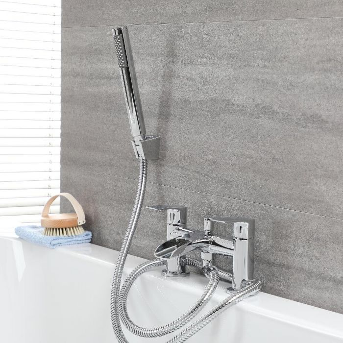 Milano Razor - Modern Deck Mounted Waterfall Bath Shower Mixer Tap with Hand Shower and Hose - Chrome