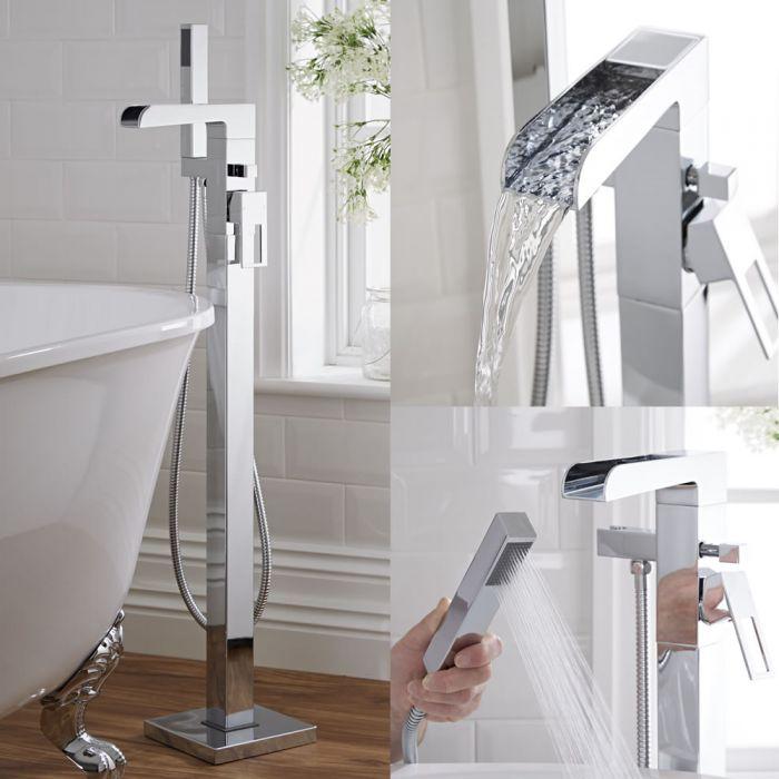 Milano Parade - Modern Waterfall Floor Standing Bath Shower Mixer Tap including Hand Shower - Chrome