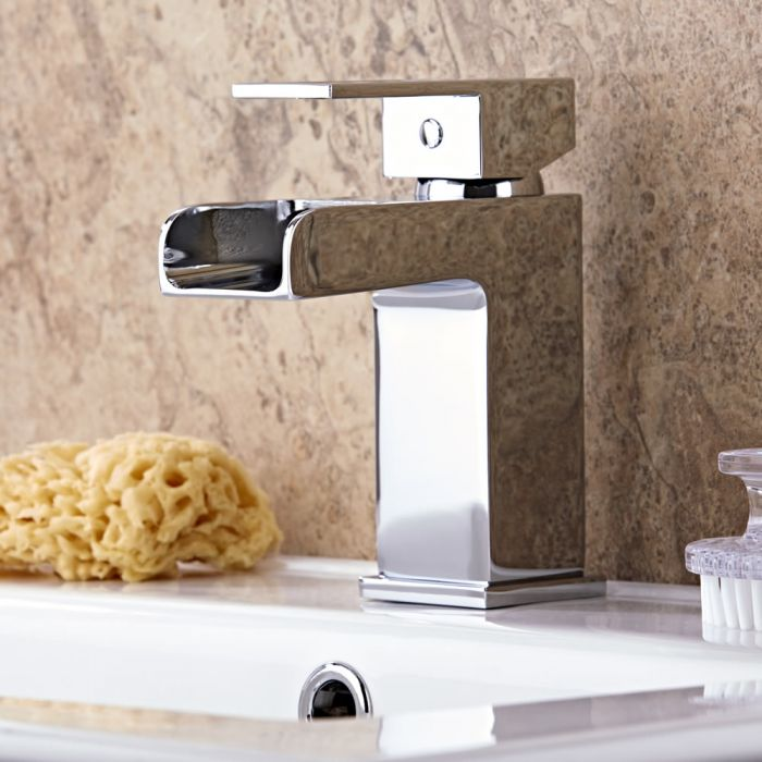 Milano Parade - Modern Open Spout Waterfall Mono Basin Mixer Tap - Chrome