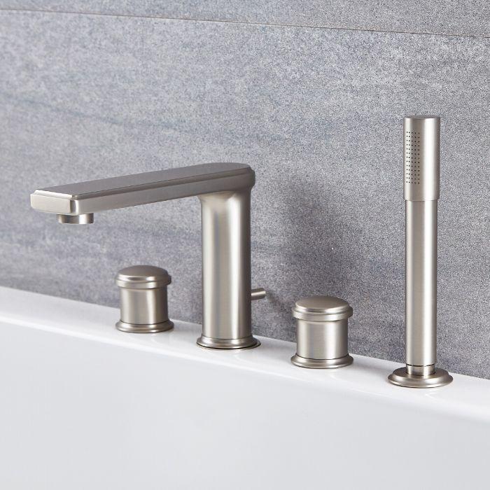 Milano Ashurst - Modern 4 Tap-Hole Deck Mounted Bath Shower Mixer Tap - Brushed Nickel