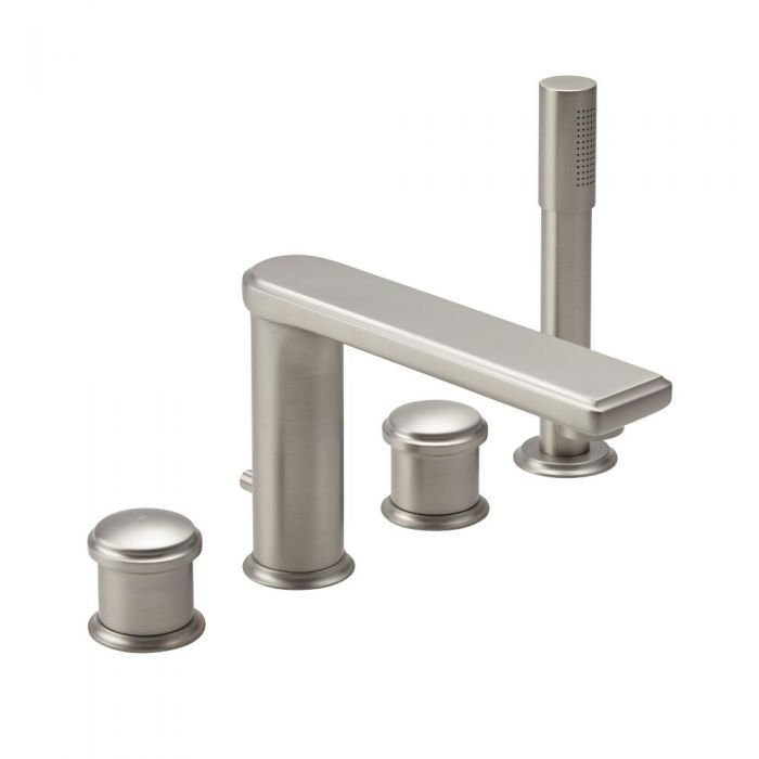 Milano Ashurst - Modern 4TH Deck Mounted Bath Shower Mixer - Brushed Nickel