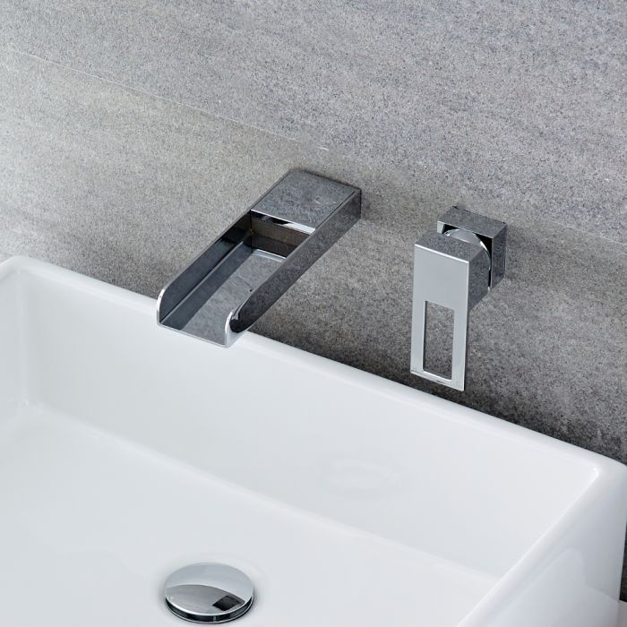 Milano Parade - Modern Wall Mounted Basin Mixer Tap - Chrome