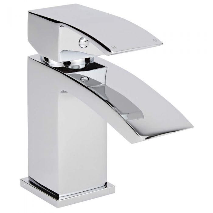 Milano Wick - Modern Deck Mounted Mono Basin Mixer Tap - Chrome