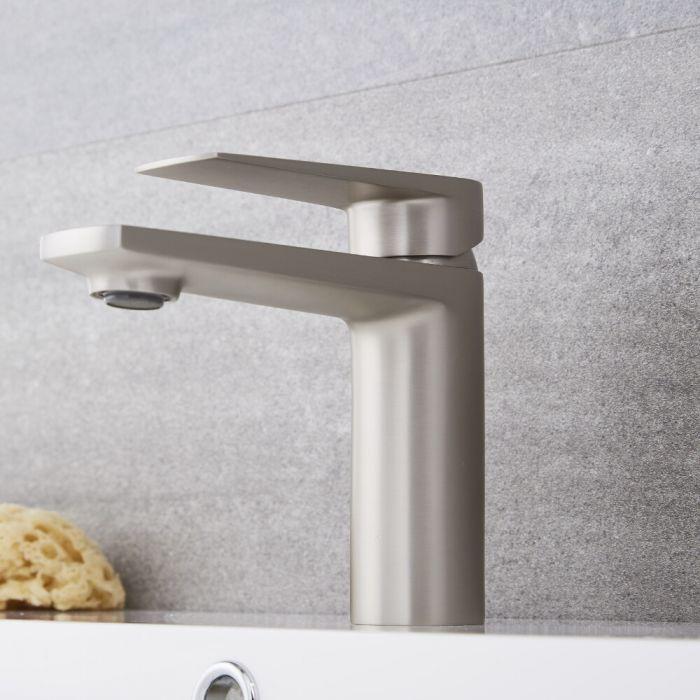 Milano Hunston - Modern Mono Basin Mixer Tap - Brushed Nickel