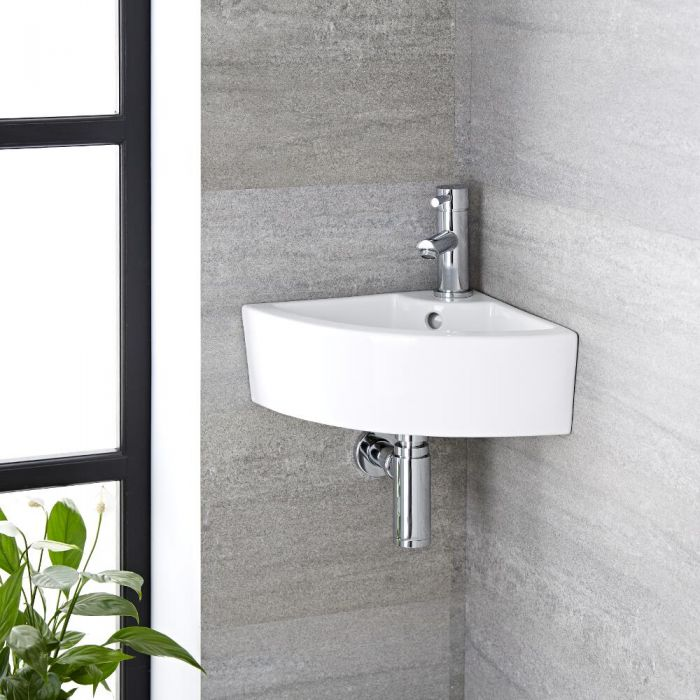 Milano Newby - White Modern Round Wall Hung Corner Basin with Deck Mounted Mixer Tap - 460mm x 320mm