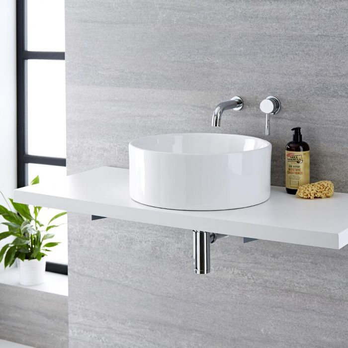 Milano Ballam - White Modern Round Countertop Basin with Wall Hung Mixer Tap - 400mm x 400mm