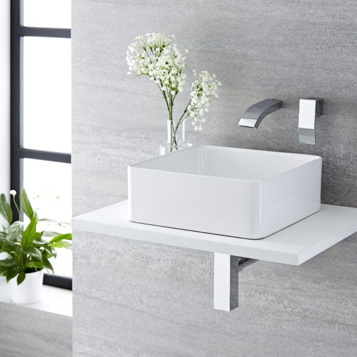 Milano Rivington - White Modern Square Countertop Basin with Wall Hung Mixer Tap - 360mm x 360mm (No Tap-Holes)