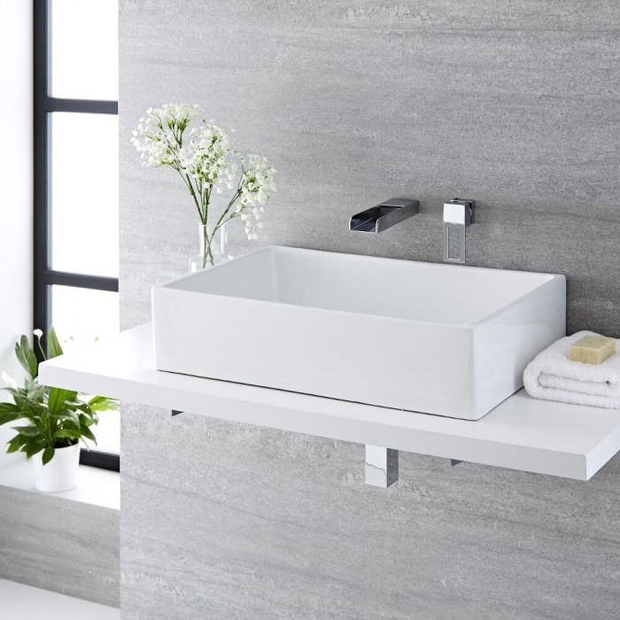 Milano Westby - White Modern Rectangular Countertop Basin with Wall Hung Mixer Tap - 610mm x 400mm (No Tap-Holes)