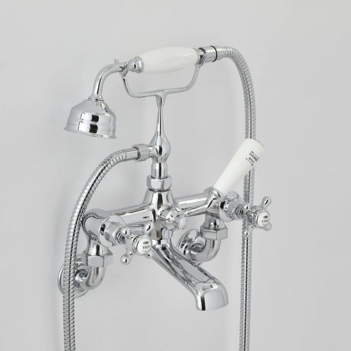 Milano Elizabeth - Traditional Wall Mounted Crosshead Bath Shower Mixer Tap - Choice of Finish