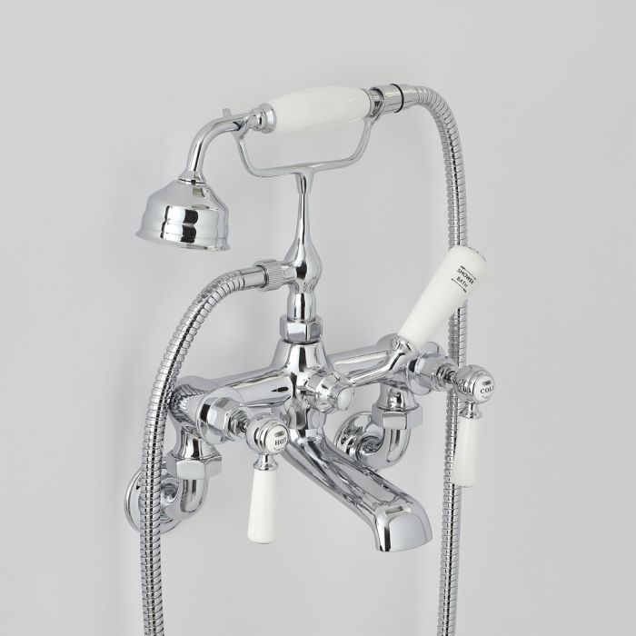 Milano Elizabeth - Traditional Wall Mounted Lever Bath Shower Mixer Tap - Choice of Finish