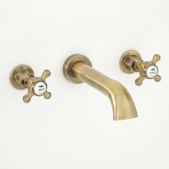Milano Elizabeth - Traditional Wall Mounted 3 Tap-Hole Crosshead Basin Mixer Tap - Antique Brass