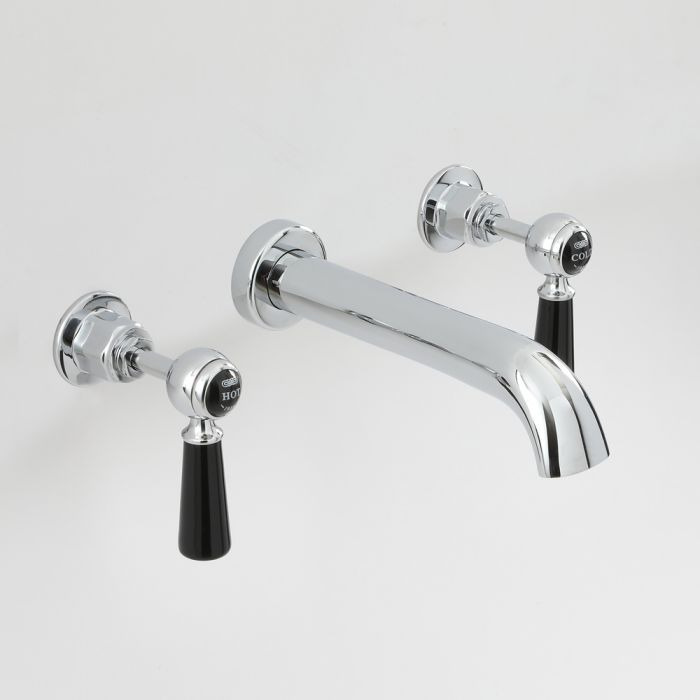 Milano Elizabeth - Traditional Wall Mounted 3 Tap-Hole Lever Basin Mixer Tap - Chrome and Black