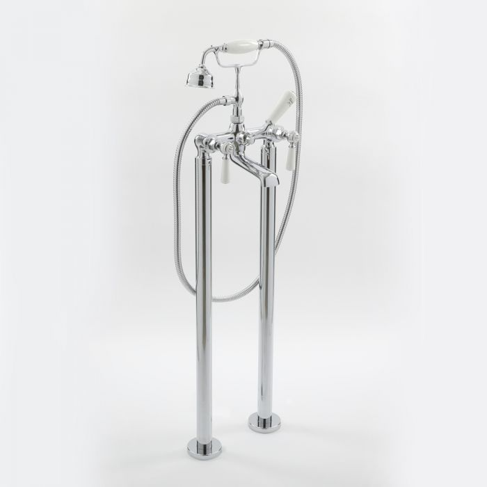 Milano Elizabeth - Traditional Freestanding Lever Bath Shower Mixer Tap - Chrome and White