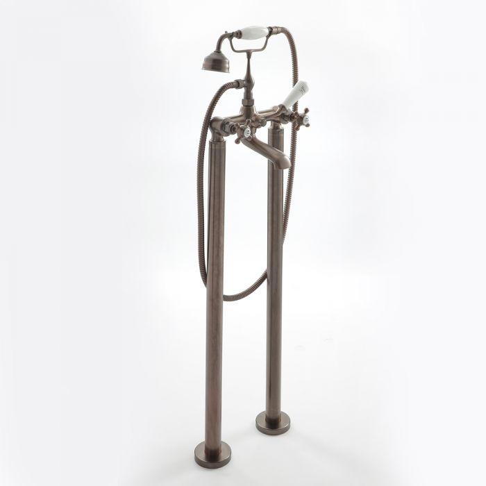 Milano Elizabeth - Traditional Freestanding Crosshead Bath Shower Mixer Tap - Oil Rubbed Bronze