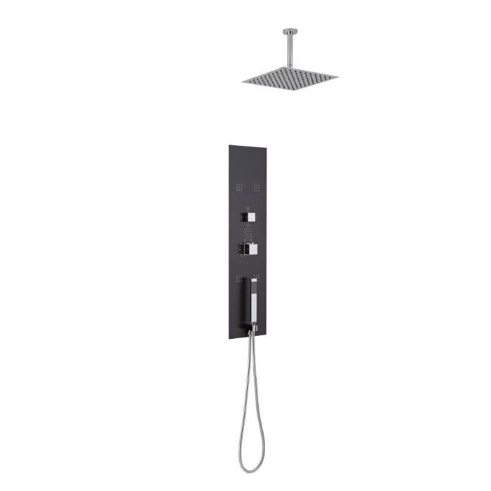 Milano Lisse Concealed Shower Tower with 400mm Square Head and Ceiling Arm
