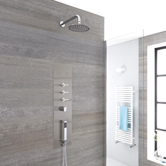 Milano Niagara - Modern Concealed Shower Tower Panel with Wall Mounted 200mm Round Shower Head, Hand Shower and Body Jets - Chrome