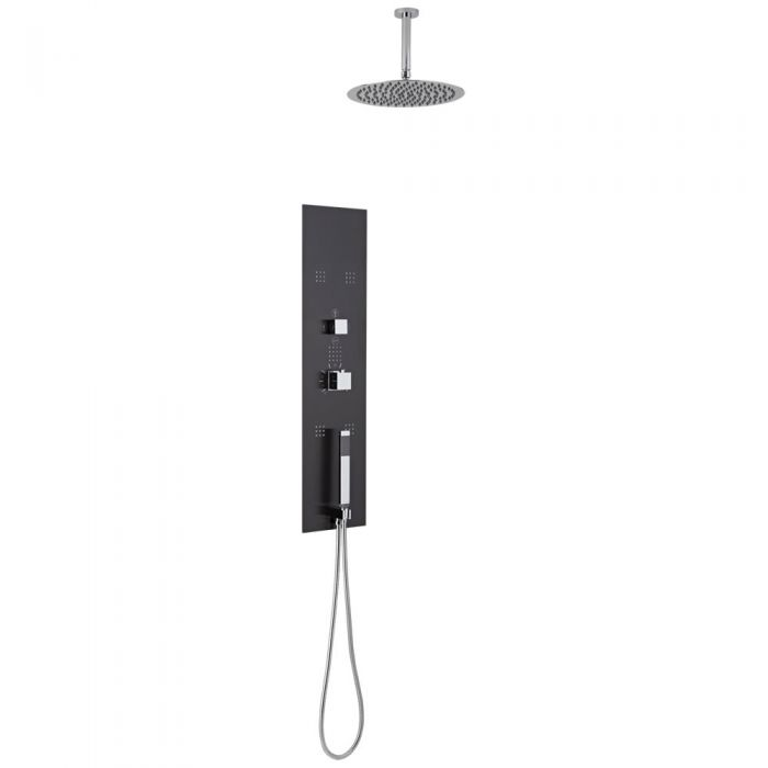Lisse Concealed Shower Panel with 300mm Round Head and Ceiling Arm