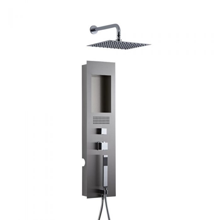 Milano Lisse Concealed Brushed Shower Panel with 300mm Square Head and Wall Arm