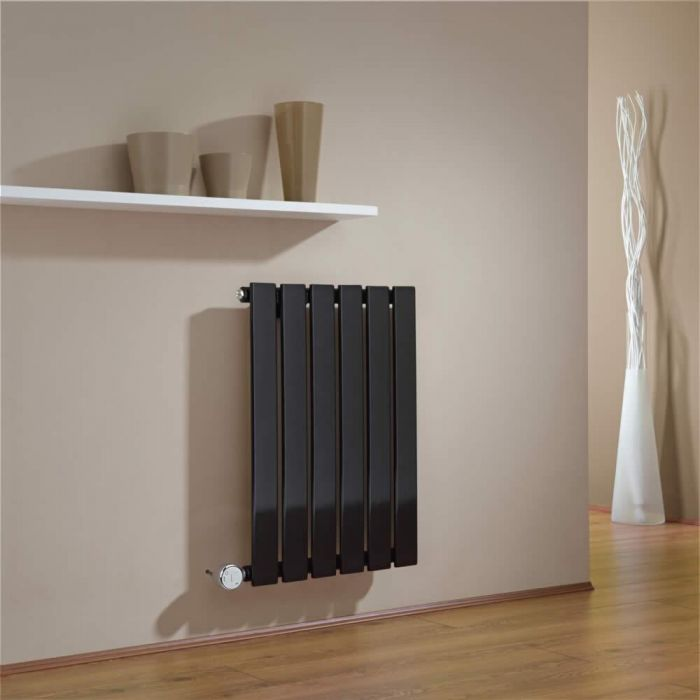 Milano Alpha - Black Horizontal Single Slim Panel Electric Designer Radiator 635mm x 420mm