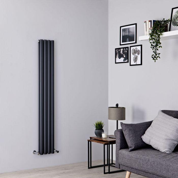 Milano Aruba Slim - Anthracite Space-Saving Vertical Designer Radiator - 1600mm x 236mm (Double Panel)