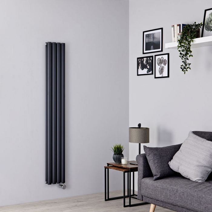 Milano Aruba Slim Electric - Anthracite Vertical Designer Radiator - 1600mm x 236mm (Double Panel)