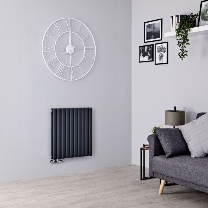 Milano Aruba Flow - Anthracite Horizontal Middle Connection Designer Radiator - 635mm x 595mm (Double Panel)