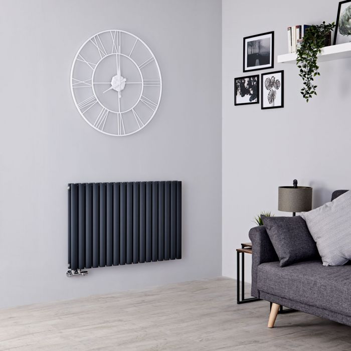 Milano Aruba Flow - Anthracite Horizontal Middle Connection Designer Radiator - 635mm x 1000mm (Double Panel)