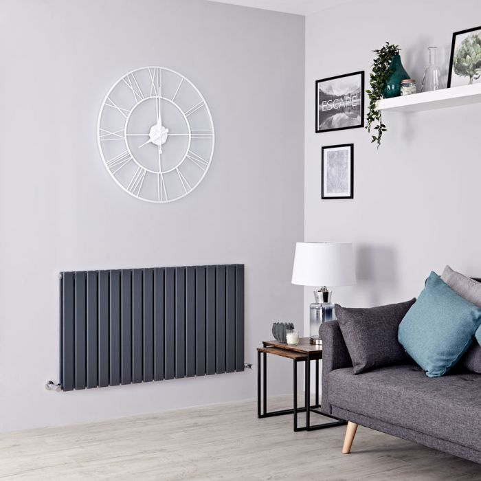 Milano Alpha - Anthracite Flat Panel Horizontal Designer Radiator - 635mm x 1190mm (Double Panel)