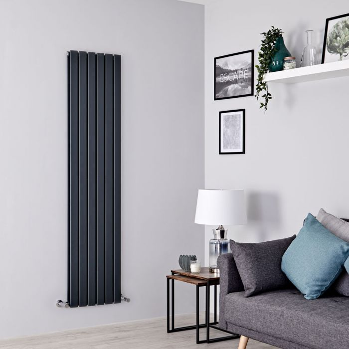 Milano Alpha - Anthracite Flat Panel Vertical Designer Radiator - 1600mm x 420mm (Double Panel)