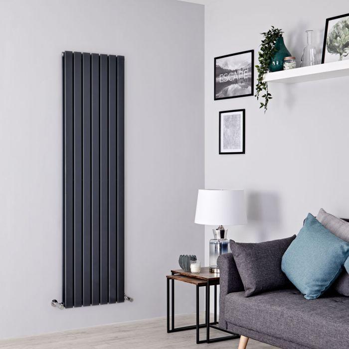Milano Alpha - Anthracite Flat Panel Vertical Designer Radiator - 1600mm x 490mm (Double Panel)