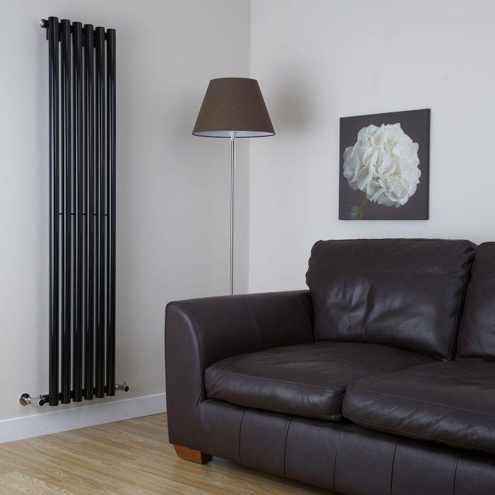 Milano Java - Black Vertical Designer Radiator - 1600mm x 354mm