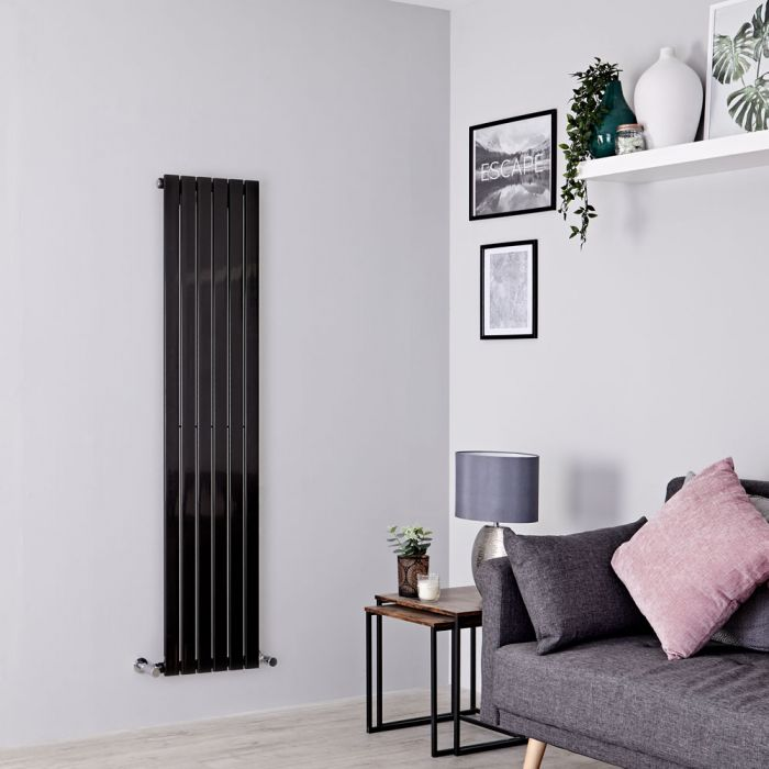 Milano Capri - Black Flat Panel Vertical Designer Radiator - 1600mm x 354mm