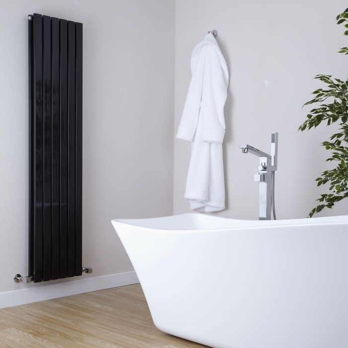 Milano Capri - Black Flat Panel Vertical Designer Radiator - 1600mm x 354mm (Double Panel)